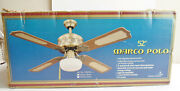 New Marco Polo 52 Antique Brass Ceiling Fan W/cane Insert Blades And Light Kit