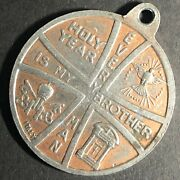 30mm Brass Rome 1975 Every Man Is My Brother Medal / Pendant Vgc Fauver Coll.