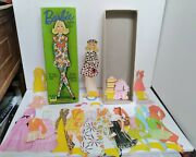 Vintage 1971 Barbie Paper Doll 20 Outfits - 3 Hats Doll And Stand 25 Pc Set Mattel