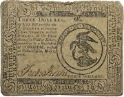 Continental Currency 1776 May 9th Three Dollars 3 Hall Sellers Fred Kuhl Cc-33