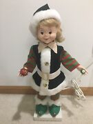 Vintage Telco Christmas Motionette Animated Elf Pixie Girl 22andrdquo Works Used