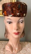 Vintage 1950and039s Mr. Karl Iridescent Copper Feather Pillbox Hat