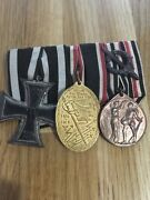 Ww1 German Soldier Military Army Original Ribbon Bar With 3 Medals
