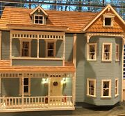 Adorable Victorian Wooden Dollhouse Completely Furnished