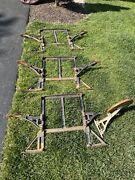 Antique Cast Iron Industrial Table Legs W/6 Swing Arm Stools