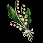 Dujay Sterling Gold Pearls Enamel Lily Of The Valley Flower W Pave Bow Pin