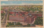 Bird's Eye View General Electric Co Plant Fort Wayne In Vintage Linen Post Card