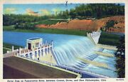Dover Dam Tuscarawas River Canton Dover Ohio Posted Vintage Linen Post Card