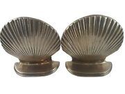 Vintage Leonard Silver Mfg. Co. Brass Bookends Shell/ Clamshell Mcm