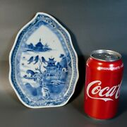 Antique Chinese Blue And White Porcelain Dish Plate Leaf Shape Willow Pagoda 18c