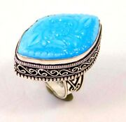 Blue Chalcedony Flower Hand Carving Silver Plated Size 9 Ring Jewelry Jc1727