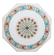 36 Inches White Marble Inlay Table Top Hand Crafted Luxurious Patio Dining Table