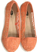 Rue 21 Womens Coral Pink Lace Flats Size Large 8-9 Shoes