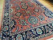 5x7 4x7 Mahal Oriental Area Rug Wool Red Coral Blue Navy Lovely