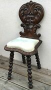 Antique French Black Forest Alsacian Chair 19th Century Faun Head Woodwork