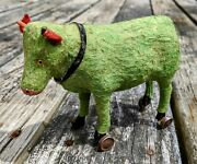 Antique Victorian Green Cow Bovine Pull Toy W/glass Eyes 100 Orig.rare