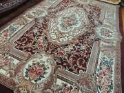 5x7 4x7 French Aubusson Savonnerie Oriental Rug Wool Red Green Pink Teal Blue
