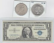 1927-p 1 Peace Silver Dollar, And 1957 1 Silver Certificate Star Note Lot,1 Ea