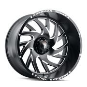 26 Inch 8x165.1 Wheels Rims Black Milled -76mm American Truxx Xclusive At1907