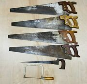 Lot Of 6 Vintage Hand Saws Henry Disston And Sons