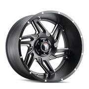 24 Inch 6x135 Wheels 4 Rims Black Milled -76mm American Truxx Spurs At186
