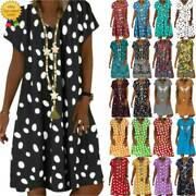 Women Floral Tunic Dress Summer Beach Casual Loose Holiday Sundress Plus Size