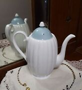 Susie Cooper 1950and039s Classic White Flute With Blue Lid 4 Cup Coffee Pot England