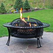 40 Large Fire Pit Black Steel Diamond Weave Design W/ Poker And Spark Screen