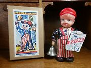 1940's Vintage Made In Occupied Japan News-boy Tin/celluloid Windup Toy And Box