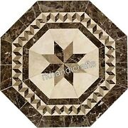 30 Inch Octagonal Marble Coffee Table Top Royal Pattern Stone Floor Highlighter