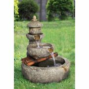 Resin Garden Tiered Fountain Led Lighted Outdoor Yard Decor Waterfall Hand Paint