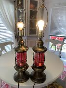2 Vintage Railroad Nautical Port Red Lantern Table Lamps 27 In Tall Night Light