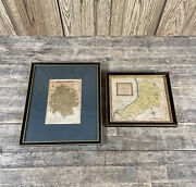 Two Antique Hand Coloured Herefordshire And Cardiganshire Framed Maps.