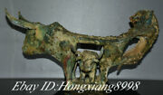 18.5 Antique China Bronze Ware Dynasty Tiger Bull Oxen Statue Weeping Willow