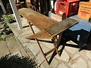 Hand Made Folding Wood Ironing Board Primitive Antique Vintage Wooden Table Farm