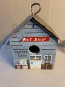 1996 Pollyand039s Perch Hand Painted Bait Shop Birdhouse With Copper Roof