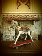Antique Primitive Painted Horse- Not Reproduction- Real Horse Hair- Glass Eyes