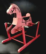 Vintage The Wonder Horse 1940 Ride-on Wooden Rocking Horse On Springs Very Good