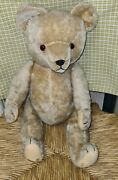 Steiff Bear Germany Antique C.1920and039s Mohair Straw Filled Glass Eyes Jointed 2