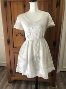 By Phoebe Philo White Silk And Cotton Lace Fit And Flare Summer Dress 40