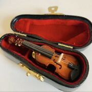Wooden Miniature Violin With Case Mini Musical Instrument