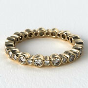0.68 Carat Real Diamond Anniversary Band Solid 14k Yellow Gold Size 5.5 6 7 8 9