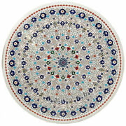42 Inches Marble Kitchen Table Top Lapis Lazuli Stone Coffee Table Floral Work