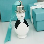 New And Co Penguin Ornament Silver Blue Bone China Christmas Tree Holiday