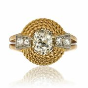 Diamond Ring 50s 60 Yellow Gold Vintage Jewelry Antiques