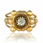 Ring Diamond 50s 60 Yellow Gold Vintage Jewelry Antiques