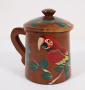 """Covered Hand Turned Wood Painted Parrot Tropical Bird 5"""" Cocoa Chocolate Mug Cup"""