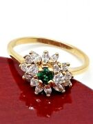 1 Total Carat Emerald And Diamond Flower Ladies Ring 14k Yellow Gold Size 6.5