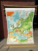 Vintage 1967 Denoyer-geppert Large 63 X 42 Pull Down Europe Cloth Map