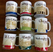 Lot Of 9 Starbucks Collectible Coffee Mugs Cups - 8 Cities + 1 Country